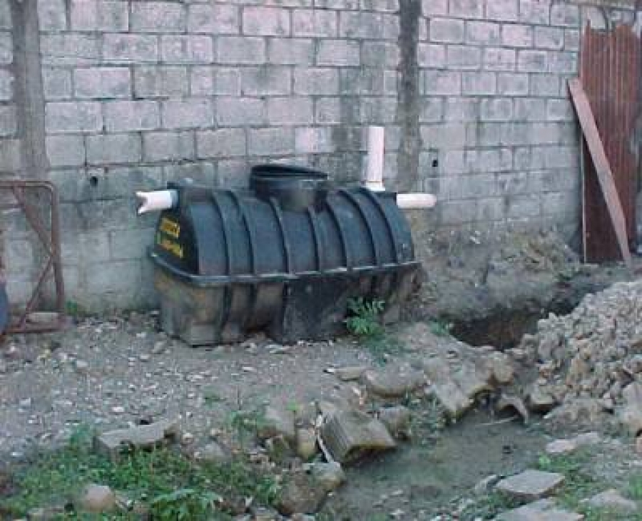 Picture of septic tank on the ground